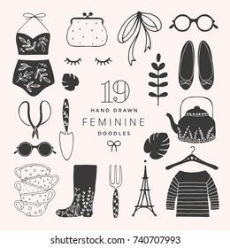 Set of Hand Drawn Vector Feminine Fashion Elements.