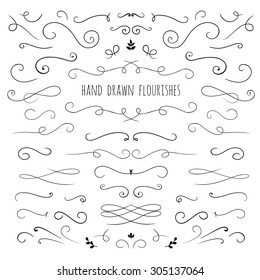 set of hand drawn vector flourishes ans curls
