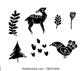 Set of hand drawn vector forest elements. Linocut style. Deer, bird, floral