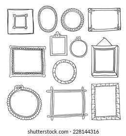 Set of hand drawn vector frames. Doodle frames collection in cartoon style isolated on white background.