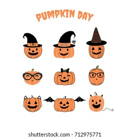 Set of hand drawn vector funny cartoon pumpkins with different faces, witch hats, glasses, ribbon, cat ears, whiskers, bat wings, horns and tail, with text Pumpkin day. Design concept kids, Halloween.