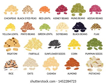 Set of hand drawn vector handful of beans, legumes, seeds and nuts. Chickpea, kidney bean, mung, soy, lentil, pinto beans, rice, oats, flax, pumpkin and sunflower seeds, pistachio, cashew, almond.