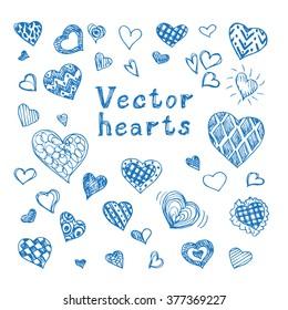 set of hand drawn vector hearts