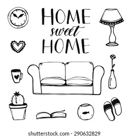 Set of hand drawn vector home interior doodles: couch, lamp, clock, cactus, slippers and other items with calligraphy phrase ho,e sweet home for cards and posters