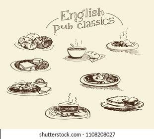 Set of hand drawn vector icons - English pub classic food