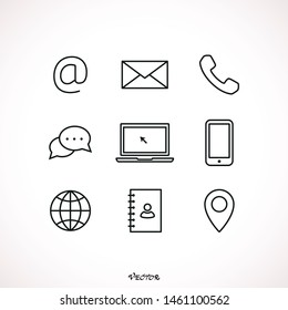 Set of hand drawn vector icons placed on white. Contact us concept line.