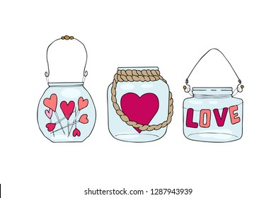 Set of hand drawn vector illustration of a mason jar with hearts and inscriptions love you, candle, wedding and romance concept illustration isolated on white background. Love concept. Valentines Day