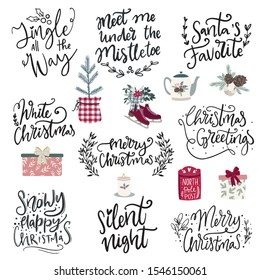 Set of hand drawn vector illustrations and hand written lettering phrases about Christmas holidays. Winter season and Merry Christmas celebration clipart and letterng collection for cards,posters,sal