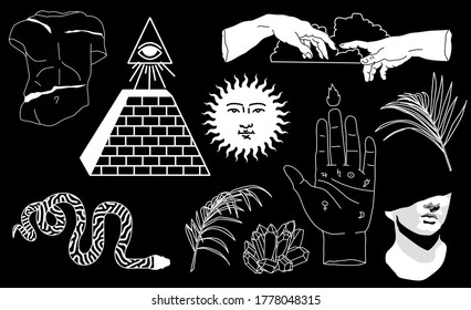 Set of hand drawn vector illustrations for stickers, patches and fashion badges. Snake, pyramid, fern leaves, the eye of providence symbols on dark background.