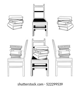Set of hand drawn vector illustrations with books on chairs. Piles of books. Black and white version. Different points of view
