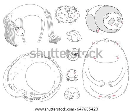6014d909e73 Set Hand Drawn Vector Illustrations Cute Stock Vector (Royalty Free ...
