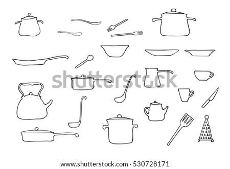 Set Hand Drawn Vector Kitchen Utensils Stock Vector Royalty Free