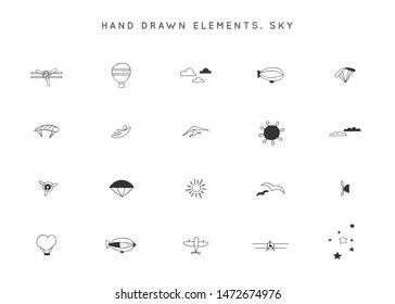 Set of hand drawn vector logo elements. Skydiving, parachuting, paragliding, ballooning. Sky sports theme. For business identity and branding, for pilot schools, flight courses and instructors.