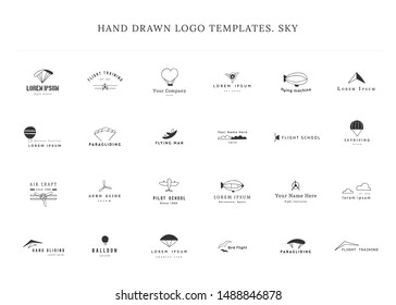Set of hand drawn vector logo templates. Sky sports. Skydiving, parachuting, paragliding, ballooning. For business identity and branding, for pilot schools, flight courses and instructors.