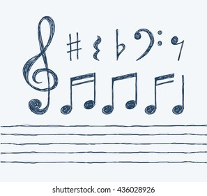 Set of hand drawn vector music notes