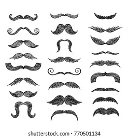 Set of hand drawn vector mustache. Black and white illustration.