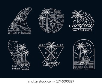 Set of hand drawn vector neon colors surfing illustrations, for t-shirt prints, posters and other uses.