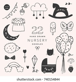 Set of Hand Drawn Vector Nursery Elements.