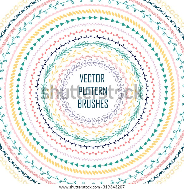 Set of hand drawn vector pattern brushes. Frames, borders with ornamental strokes and corner elements.