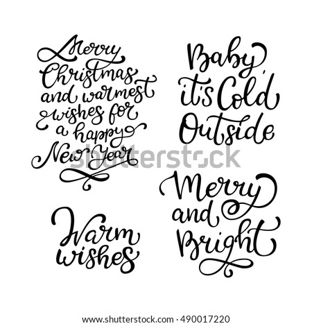 Set hand drawn vector quotes warm wishes stock vector royalty free set of hand drawn vector quoteswarm wishes merry and bright baby it m4hsunfo