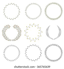Set of hand drawn vector round floral wreaths.