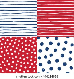A set of hand drawn vector seamless patterns in navy and red. Brushed stripes and dots.