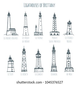 Set of hand drawn vector sketch style famous lighthouses of Brittany, France