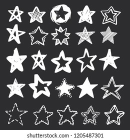 Set of hand drawn vector stars in doodle style on black background. Could be used as pattern or standalone element. Brush marker sketchy