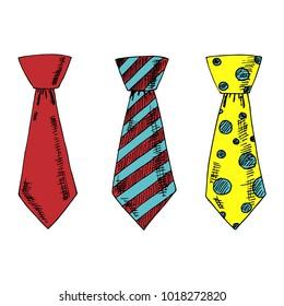 Set of hand drawn vector ties.