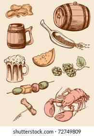 set of hand drawn vintage beer icons