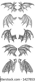 Set of hand drawn vintage etched woodcut fallen angel or vampire detailed wings. Dragon or gargoyle wings. Heraldic wings for tattoo and mascot design. Isolated sketch collection. Vector.