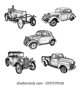 Set of the hand drawn vintage retro old timer cars and racing car doodle sketch graphics monochrome vector tracing illustration on white background