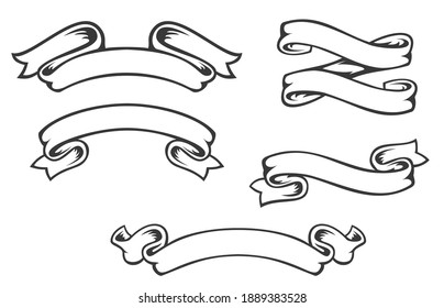 Set of hand drawn vintage ribbons isolated on white background. Decorative design element for banner, menu background. Vector object.