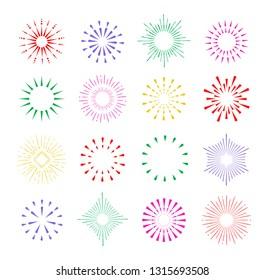 Set of hand drawn vintage sunburst bursting rays design elements, isolated on white background, vector illustration.