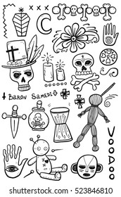 Set of hand drawn voodoo objects