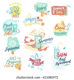 Set of hand drawn watercolor badges and stickers of fresh fruit juice and drinks. Vector illustrations for menu, food and drink, restaurant and cocktail bar, summer refreshment, fruit, summer holiday.