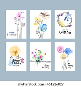 Set of hand drawn watercolor birthday greeting cards. Vector illustration concepts for website banners and print material.