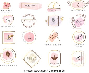 Set of hand drawn watercolor labels and badges for printing,product,vector illustration