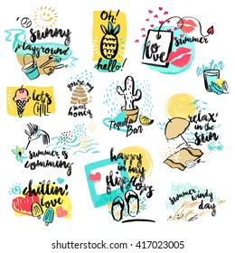 Set of hand drawn watercolor signs of summer. Vector illustrations for summer holiday, travel and vacation, restaurant and bar, menu, sea and sun, beach vacation and party.