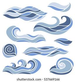 Set of hand drawn waves. Vector illustration on white. Elements for design