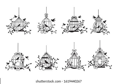 Set of hand drawn wedding birdcage collections