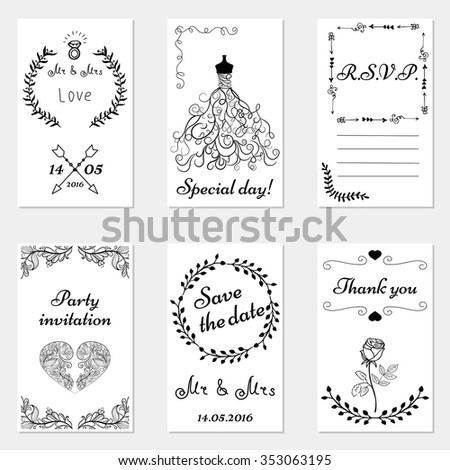 Set Hand Drawn Wedding Invitations Party Stock Vector (Royalty Free ...