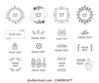 Set of hand drawn wedding logos with black floral elements. Wreaths and frames for feminine design.