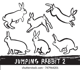 Set of hand drawn wild rabbit icons isolated on white background. Black ink brush stroke text turned into vector illustration.