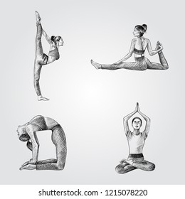 Set of Hand drawn woman practicing yoga poses. Vector illustration of yoga poses in sketch style isolated on white background. Asanas sketches