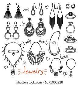 Set of hand drawn women accessories. Jewelry - earrings, rings, necklaces. Fashion collection. Black and white doodle illustration.