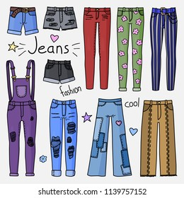 Set of hand drawn women clothes. Jeans. Fashion collection. Colored doodle illustration.