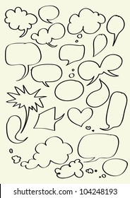 Set of hand drawn word bubbles for text insertion - Vector