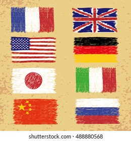 Set of hand drawn world flags. Vector grunge illustration.