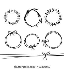 set of   hand drawn wreaths. hand drawn circular frames, vector design elements